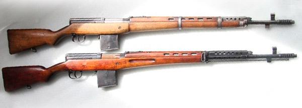 Винтовки СВТ-38 (вверху) и СВТ-40 (внизу)