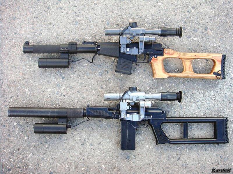 Две снайперские винтовки для спецподразделений: ВСС «Винторез» (сверху) и ВСК-94 (снизу)