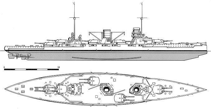 Схема расположения орудийных башен на крейсере 'Гебен'