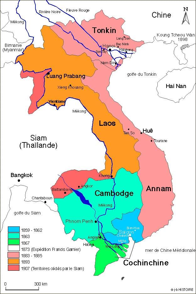 Цветом выделен Французский Индокитай в разные годы. Хорошо видны 'спорные территории' на деле нагло отхваченные французами у королевства Сиам