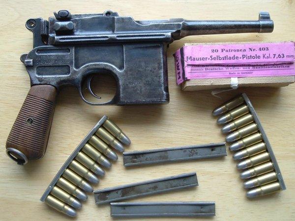 Пистолет Mauser «Bolo» с пачкой патронов 7,63×25 и обоймами