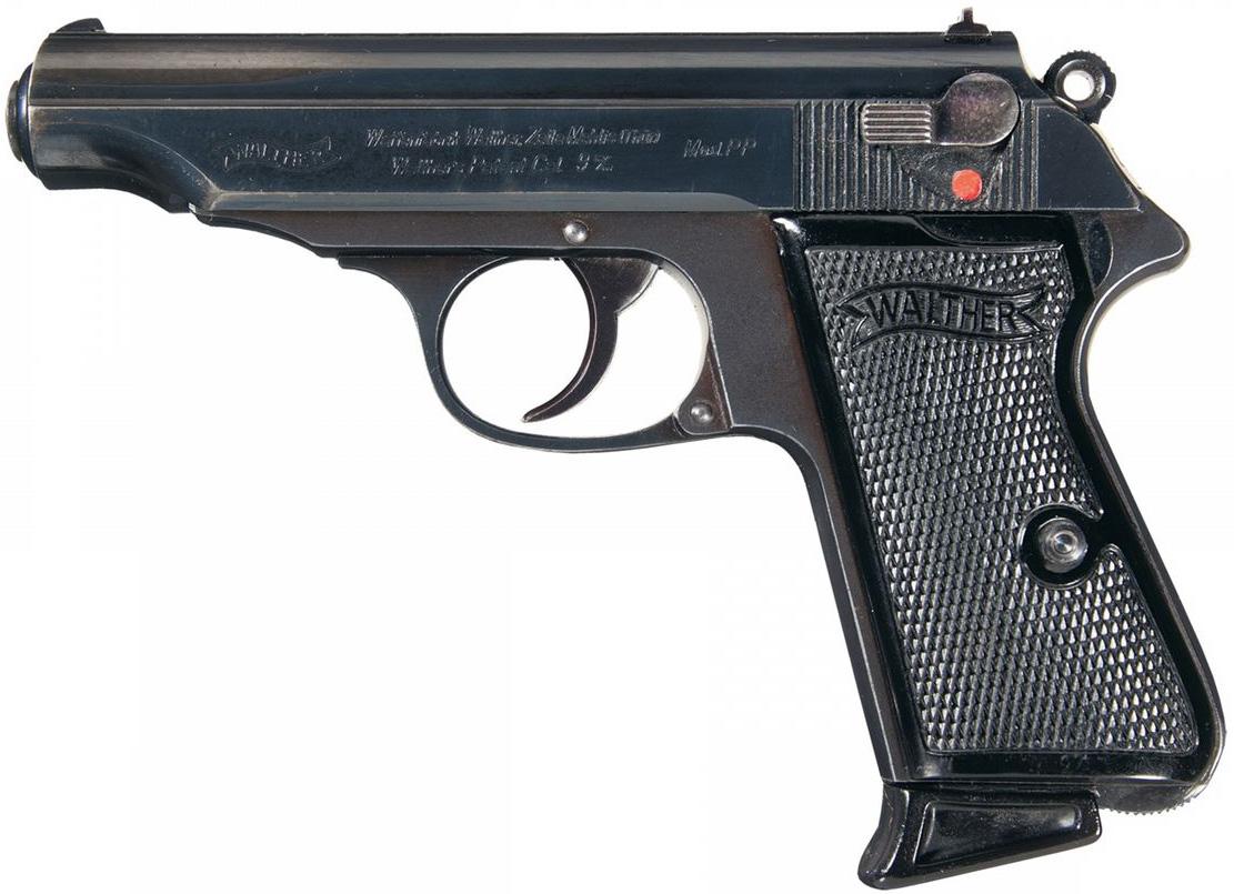 Пистолет Walther PP калибра 9 мм, вид слева