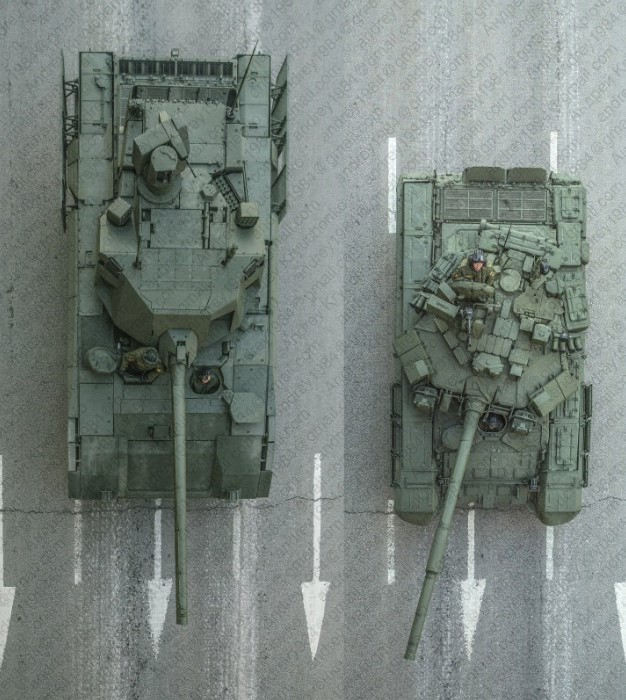Cравнение габаритов Т-14 и Т-90