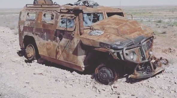 Сгоревший АМН 233114 «Тигр-М» в Сирии