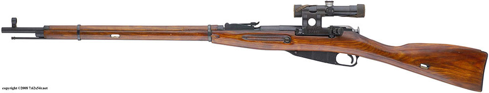 Снайперская винтовка образца 1891/1930 гг. с прицелом ПУ, вид слева