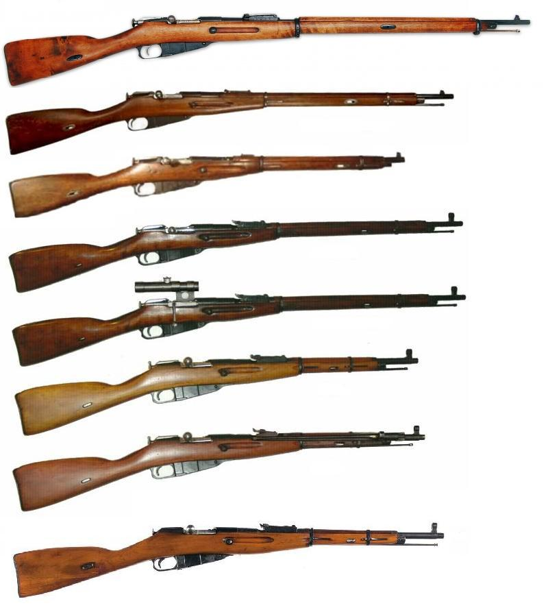 Различные модификации винтовки и карабинов Мосина