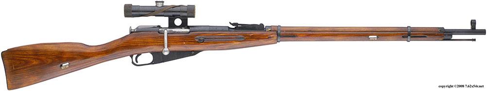 Снайперская винтовка образца 1891/1930 гг. с прицелом ПУ, вид справа