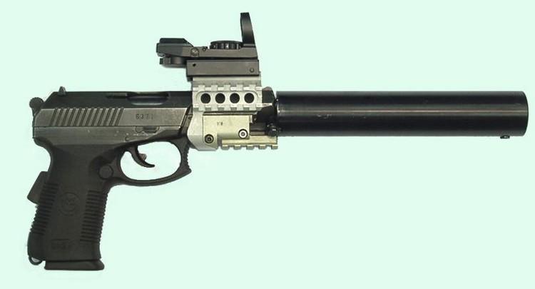 Пистолет СР1МП с планкой Пикатинни, коллиматорным прицелом и глушителем