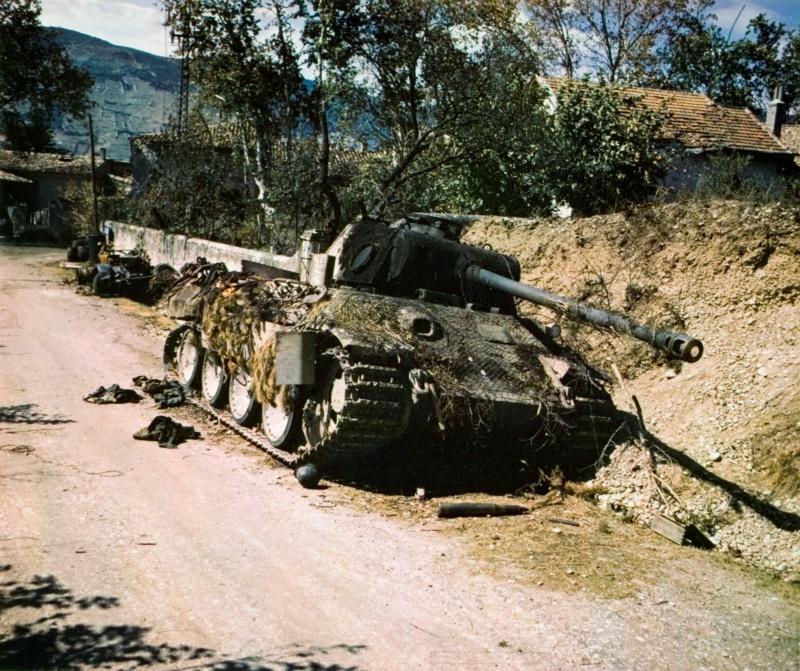 Сгоревший немецкий танк Pz.Kpfw. V Ausf. G «Пантера» 11-й танковой дивизии на обочине дороги.