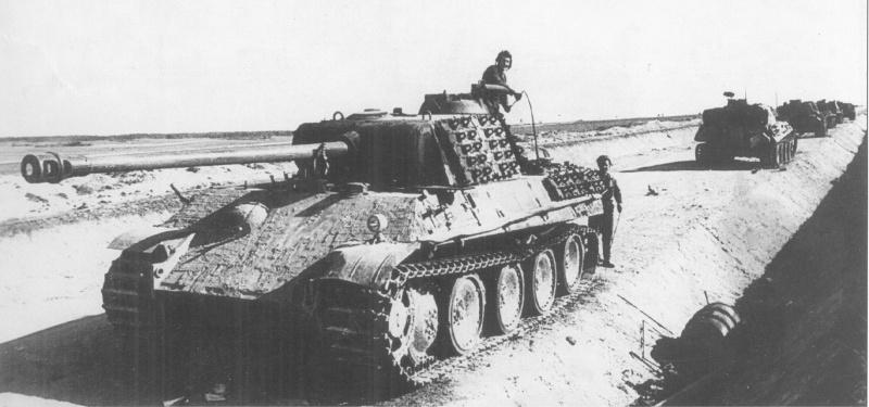 Колонна немецкой бронетехники, уничтоженная из засады советской артиллерией на границе Венгрии и Австрии, в районе города Детриц