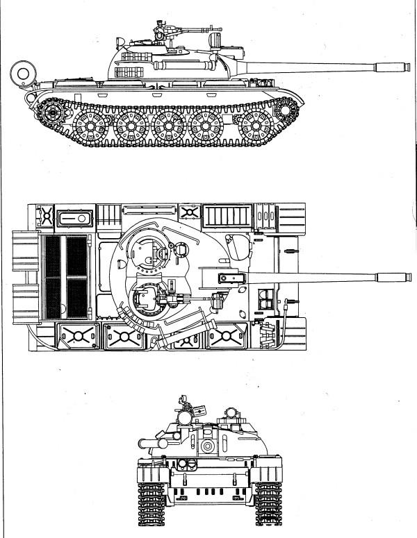 Т-55 в трёх проекциях