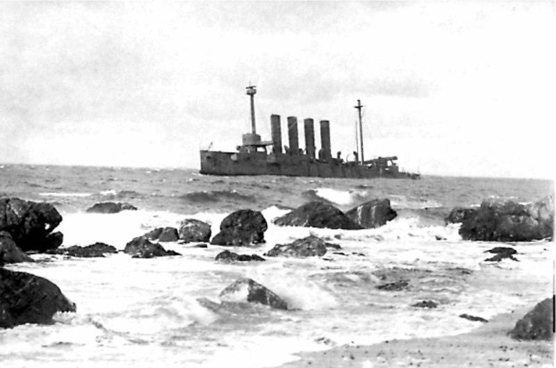 Севший на камни крейсер «Варяг» у берегов Шотландии - 1920 г.
