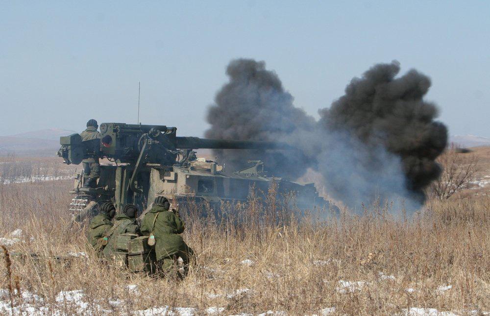 2С5 Гиацинт-С с заключительного этапа Всеармейских состязаний артиллерийских подразделений мотострелковых бригад Пятой Армии прошедшем на Сергеевском полигоне Восточного военного округа в марте 2013 года.