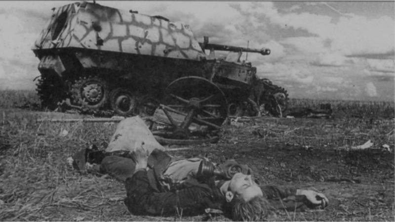 Тяжелое штурмовое орудие «Фердинанд», бортовой номер «723» из состава 654-го дивизиона (батальона), подбитое в районе совхоза «1-е мая». Снарядными попаданиями разрушена гусеница и заклинено орудие