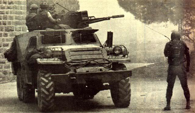 БТР-152 был изменен ливанскими боевиками. В десантном отделении была размещена зенитная установка ЗУ-23-2.