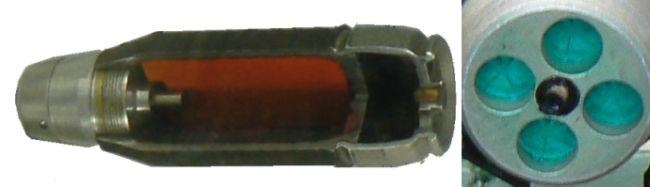 40мм безгильзовая граната 7П39 - вид в разрезе и вид на донную часть