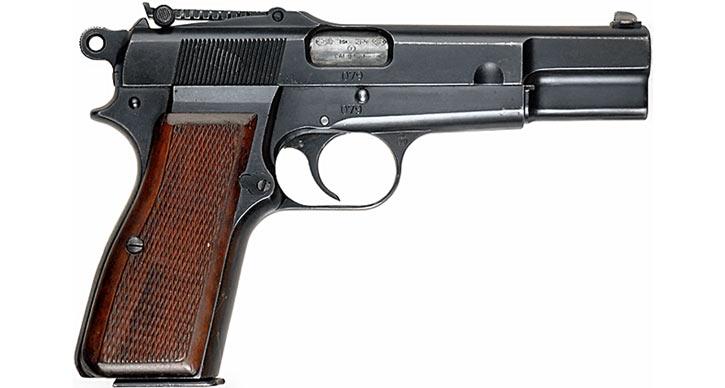Пистолет GP35 «Браунинг Хай Пауэр» довоенного выпуска с секторным прицелом вид справа