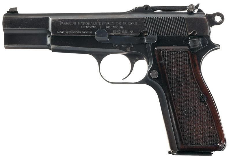 Пистолет GP35 «Браунинг Хай Пауэр» довоенного выпуска с секторным прицелом вид слева