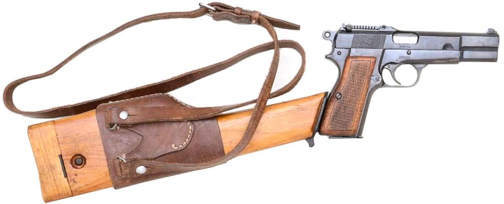 Пистолет GP35 «Браунинг Хай Пауэр» с секторным прицелом и прикнутой кобурой-прикладом