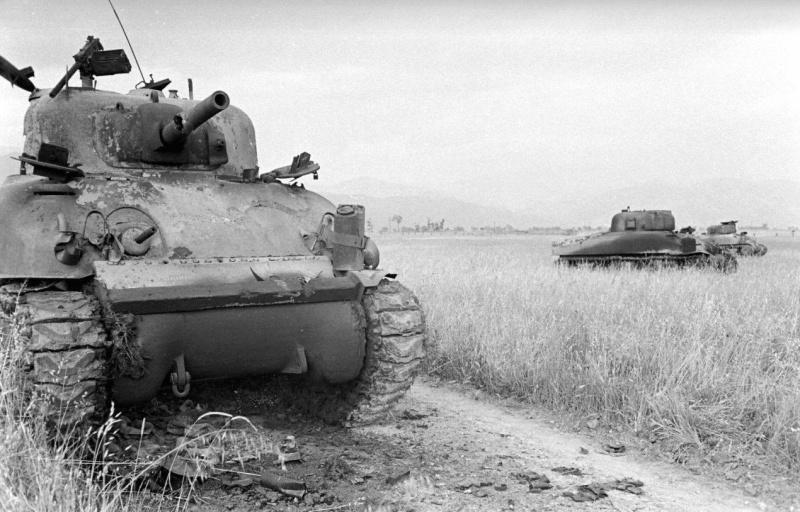 Группа американских танков Sherman M4A1, подбитых в открытом поле в Италии