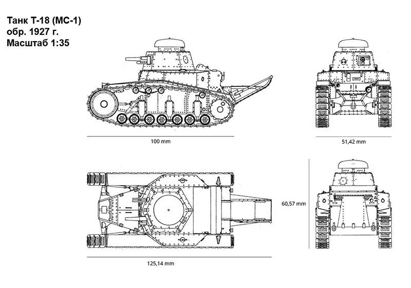 Чертеж легкого танка Т-18 (МС-1) в масштабе 1 к 35