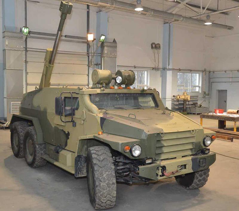САО — на шасси ВПК-39373 «Волк-3» в ЦНИИ «Буревестник» была установлена артчасть от 120-мм орудия 2Б16 «Нона-К».