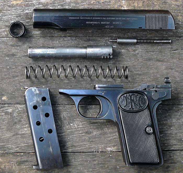 Неполная разборка пистолета Браунинг 1910 года