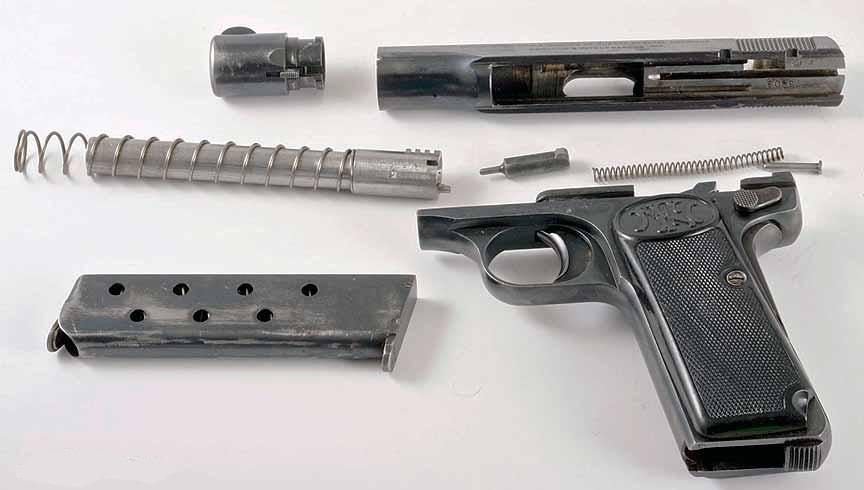 Неполная разборка пистолета Браунинг модель 1910/22