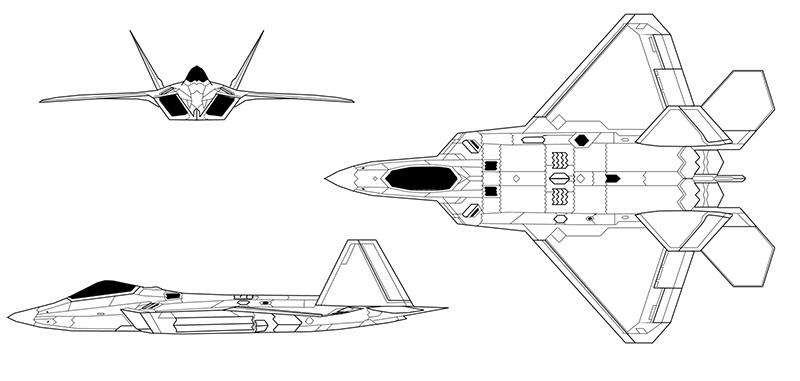 Проекции самолёта F-22A