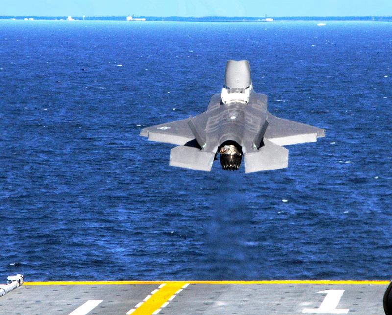 F-35B в процессе вертикального взлёта