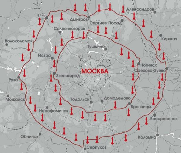 Два кольца ЗРК С-25 'Беркут' вокруг Москвы радиусом 50 и 90 км.