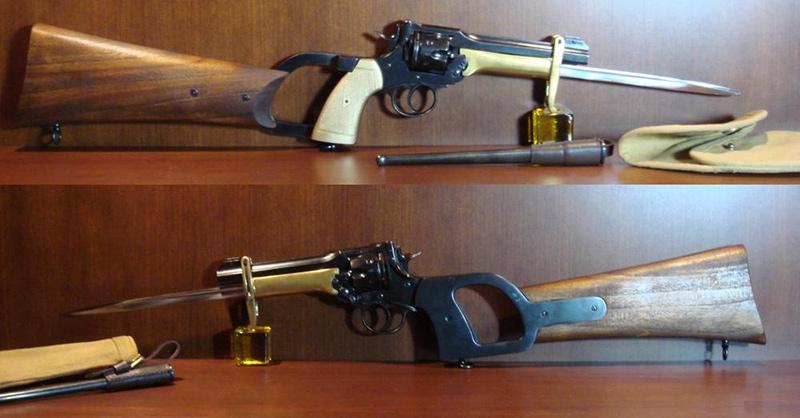 Револьвер Веблей Мк. VI со штыком Притчарда - Гринера и прикладом