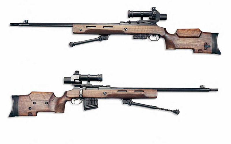 Снайперская винтовка MЦ-116M с оптическим прицелом ПКС-07У, опорные сошки полусложены