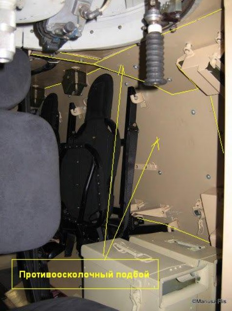 В новой модификации Дозор-Б - установлены противоминные сидения и противоосколочный подбой