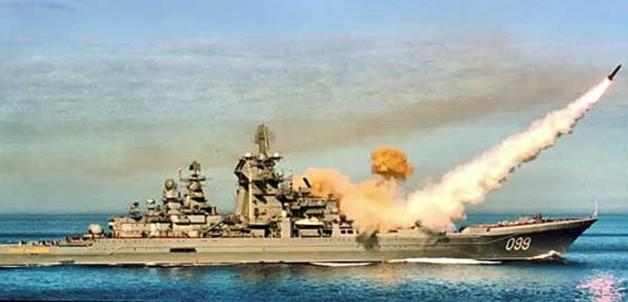 Пуск ракеты 'Гранит' с ракетного крейсера 'Петр Великий' пр.1144.2