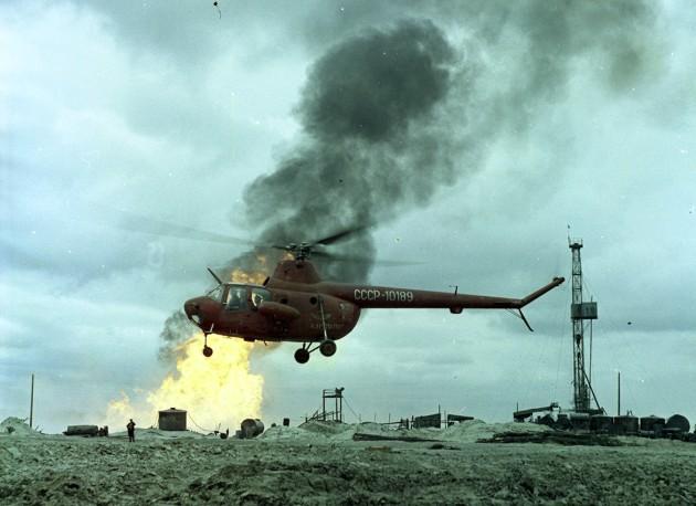 Фото Ми-1 на пожаре