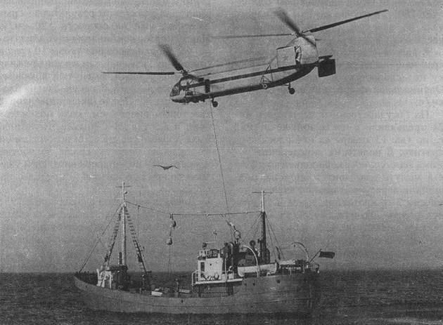 Прием груза с борта судна на Як-24