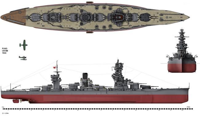 Схема линкора «Фусо»