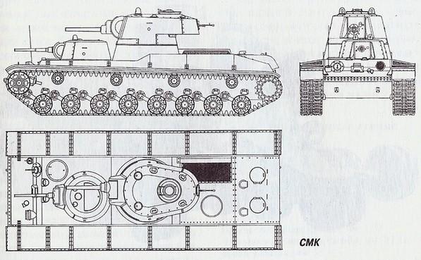 Чертеж тяжёлого экспериментального танка 'СМК'
