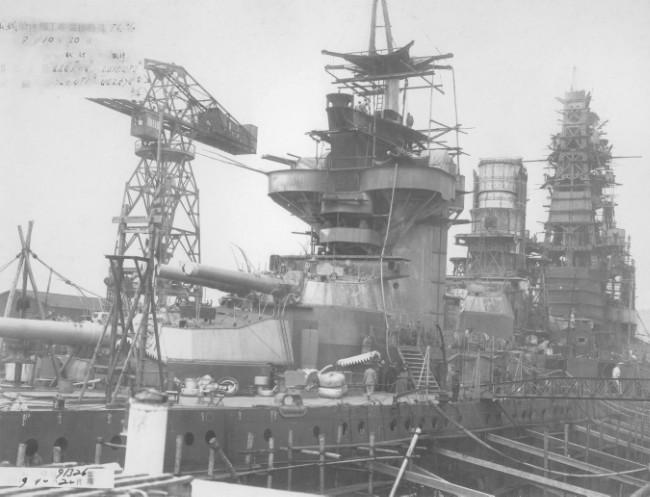 Линейный корабль «Ямасиро» на модернизации