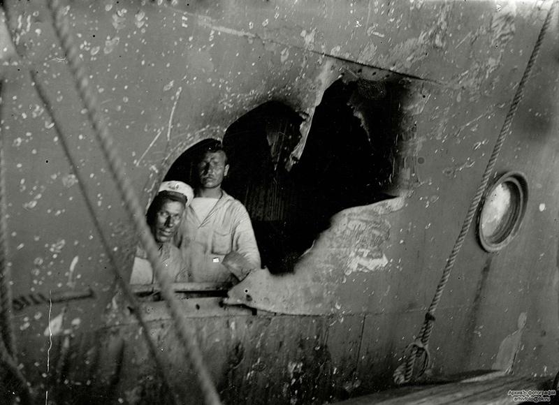 Повреждения эскадренного броненосца 'Пересвет' после боя в Жёлтом море
