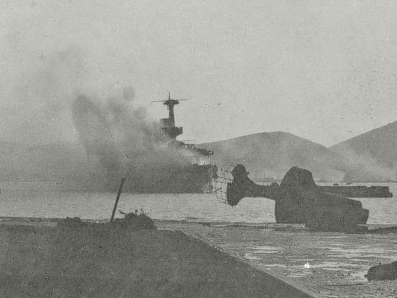 Горящий эскадренный броненосец 'Пересвет'