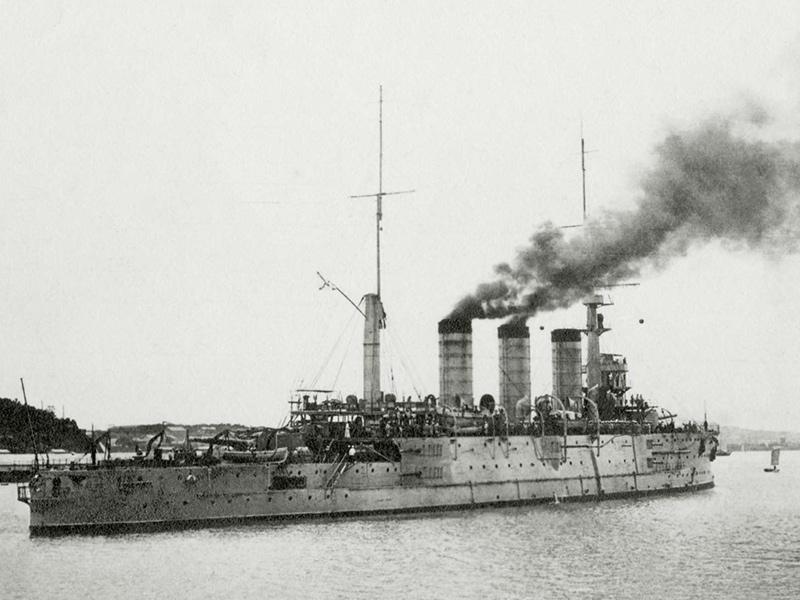Корабль «Пересвет» уходит из Владивостока октябрь 1916 г.