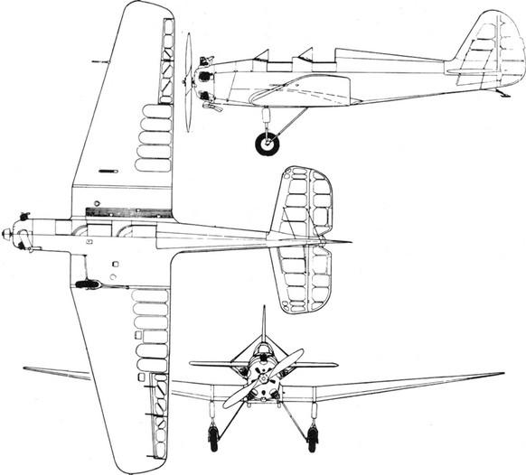 Трехмерная схема самолета УТ-2М