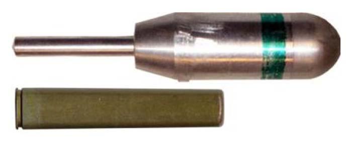 9мм специальный бесшумный вышибной патрон ПМАМ 'Мундштук' (внизу) и 30мм граната БМЯ-31 'Ящерица' (вверху).