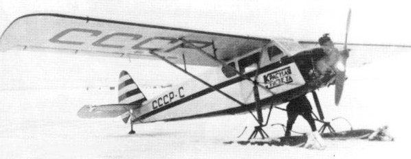 Самолет АИР-6 на лыжах