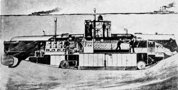 «Протектор» под водой, (с рисунка того времени)