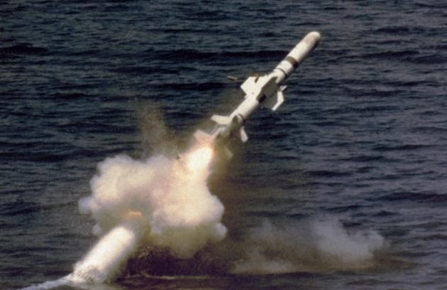Фото запуска ракеты Гарпун с подводной лодки