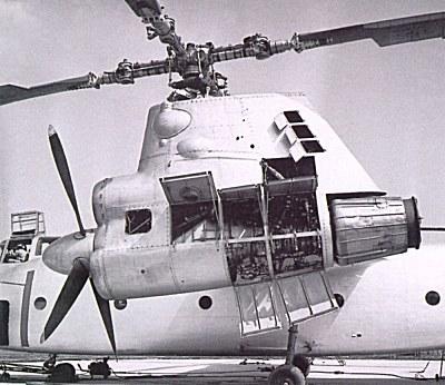 Левая мотогондола, несущий и тянущий винты Ка-22