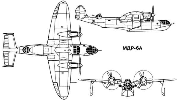 Схема самолета-амфибии МДР-6А